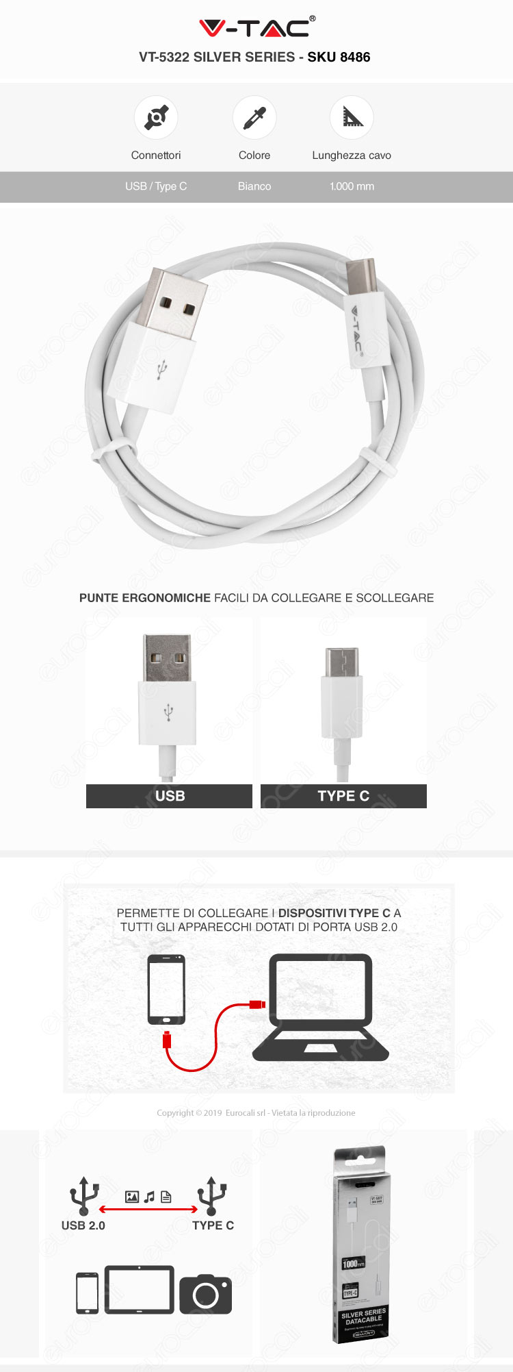 V-Tac VT-5322 Silver series USB Data Cable Type-C Cavo Colore Bianco 1m