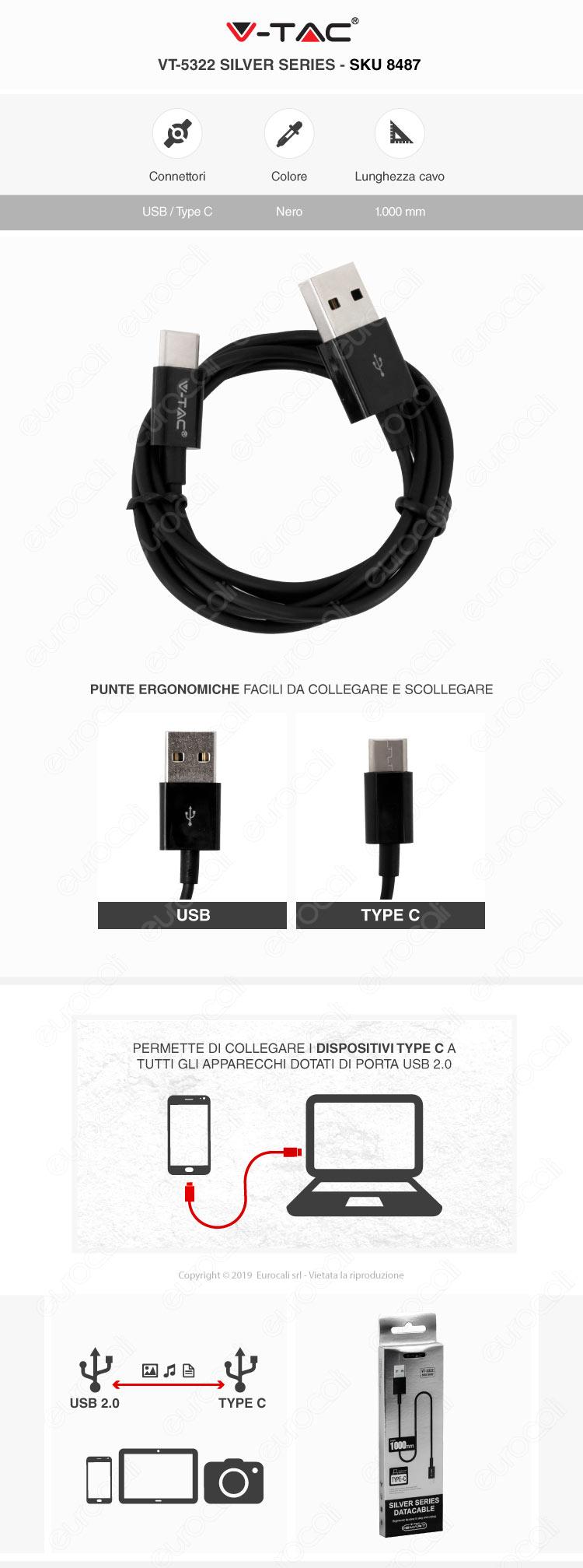 V-Tac VT-5322 Silver series USB Data Cable Type-C Cavo Colore Nero 1m