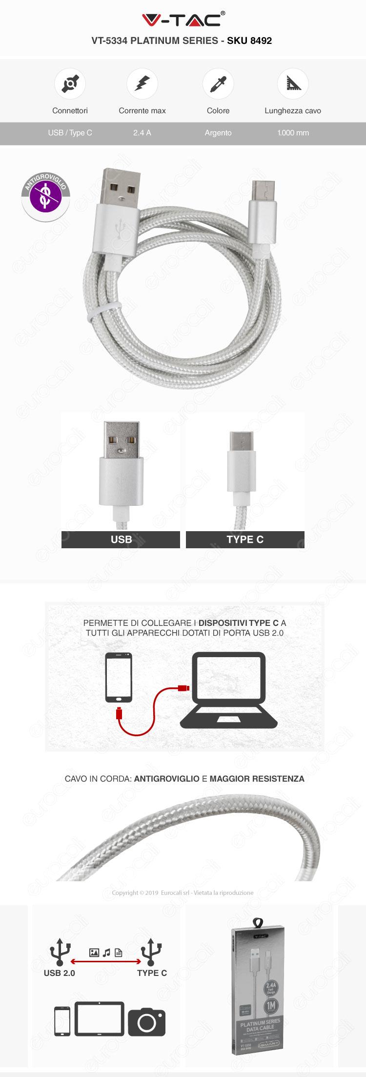 V-Tac VT-5334 platinum series USB Data Cable TYPE-C Cavo in corda Colore Argento 1m