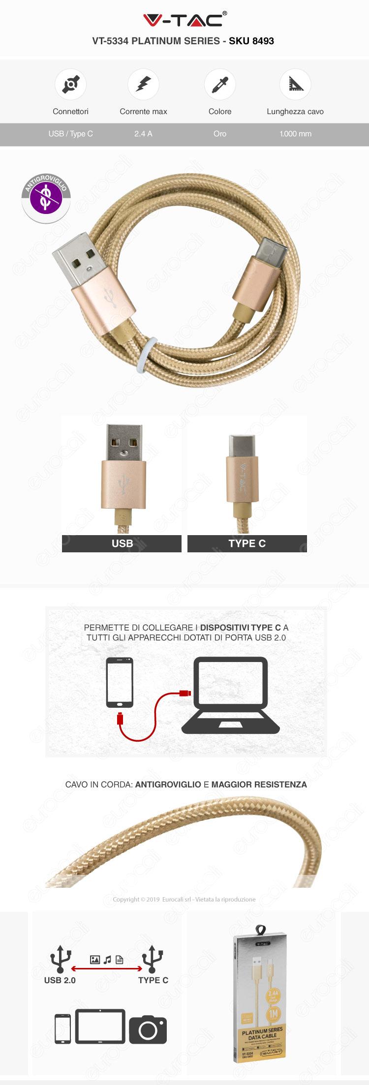 V-Tac VT-5334 platinum series USB Data Cable TYPE-C Cavo in corda Colore Oro 1m