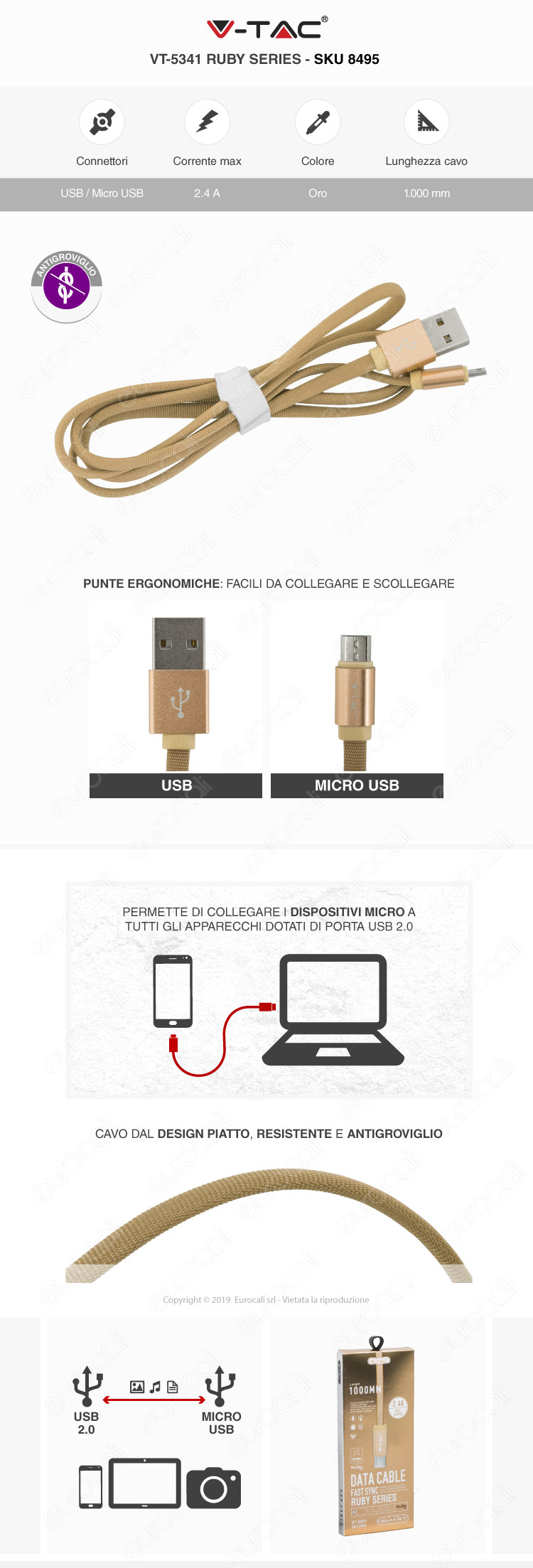 V-Tac VT-5331 platinum series USB Data Cable micro usb Cavo in corda Colore Oro 1m
