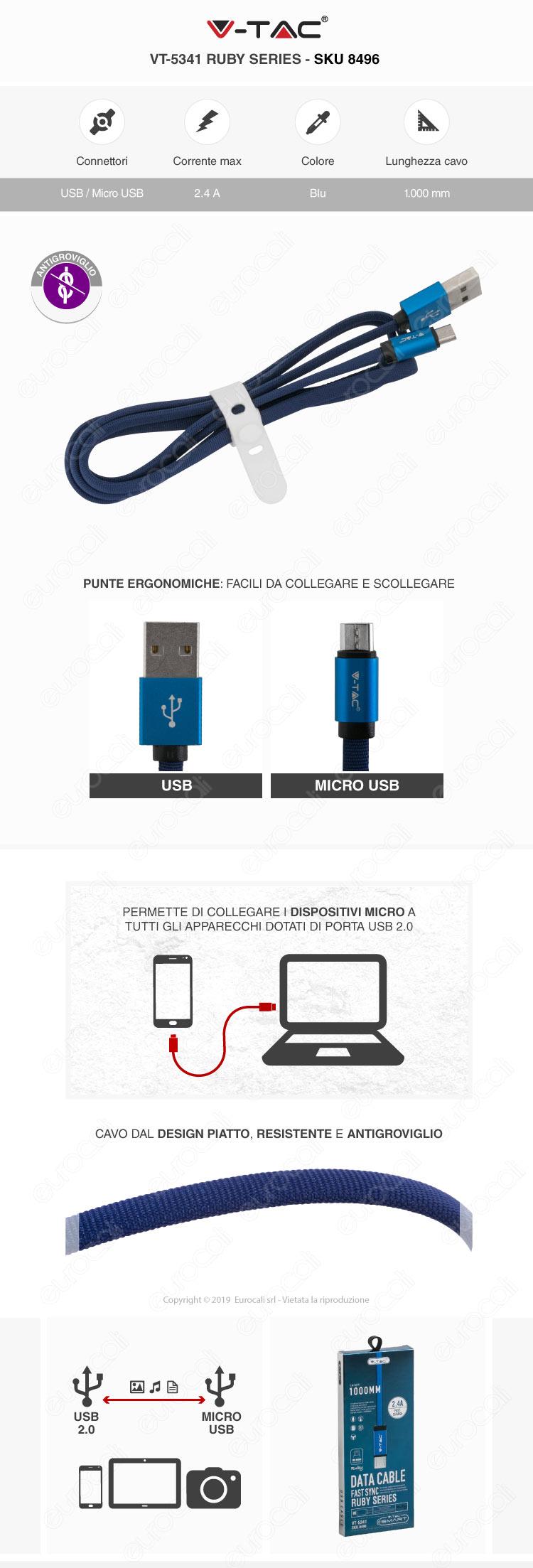 V-Tac VT-5331 platinum series USB Data Cable micro usb Cavo in corda Colore Oro 1m