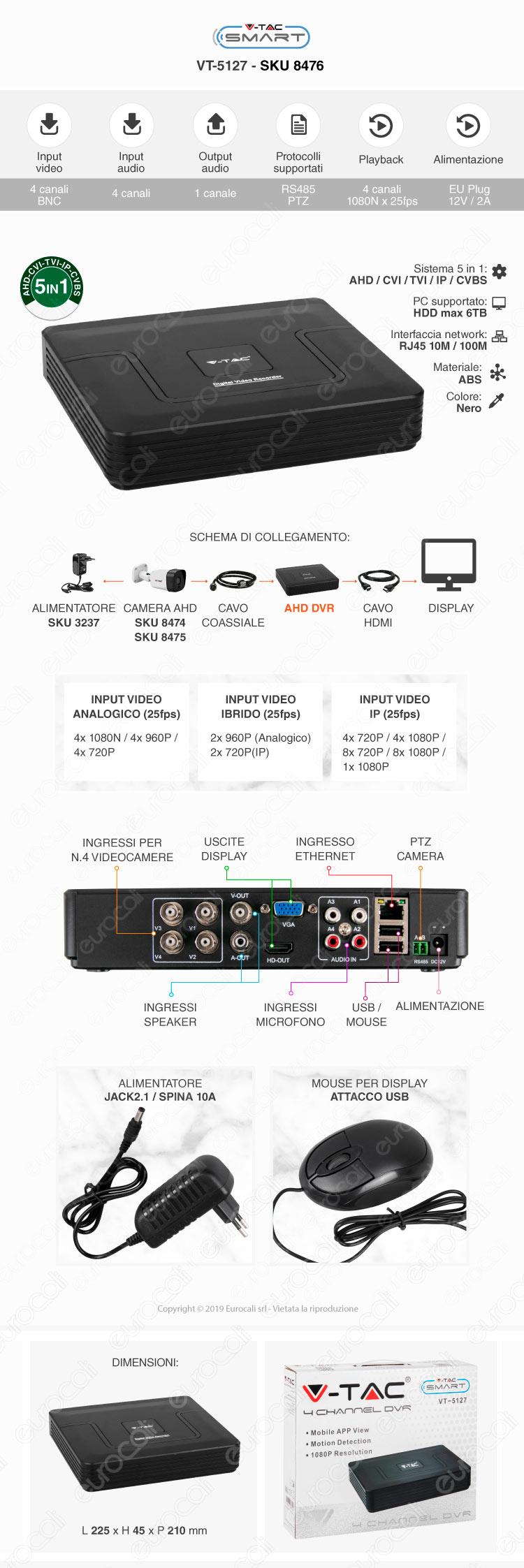 V-Tac VT-5127 DVR 4 Canali 1080p
