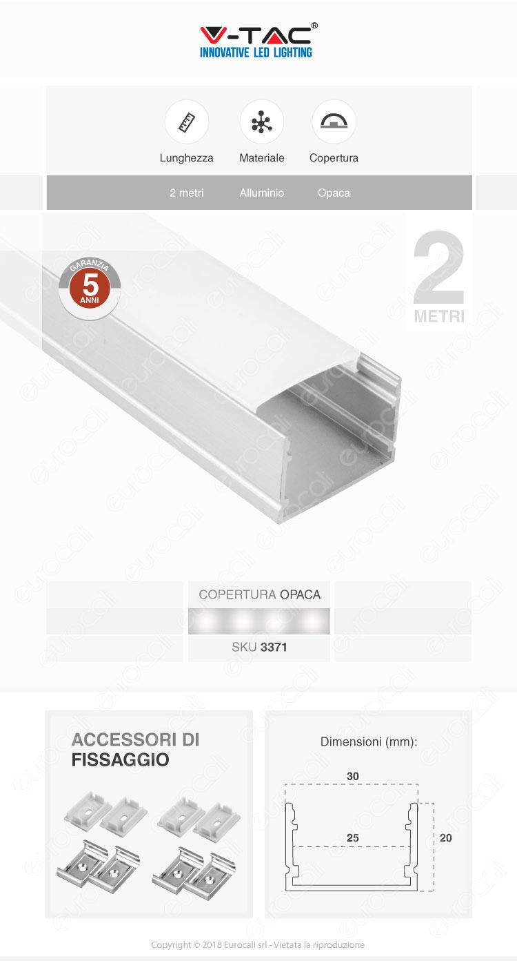 V-Tac VT-8118 Profilo in Alluminio per Strisce LED - Lunghezza 2 metri