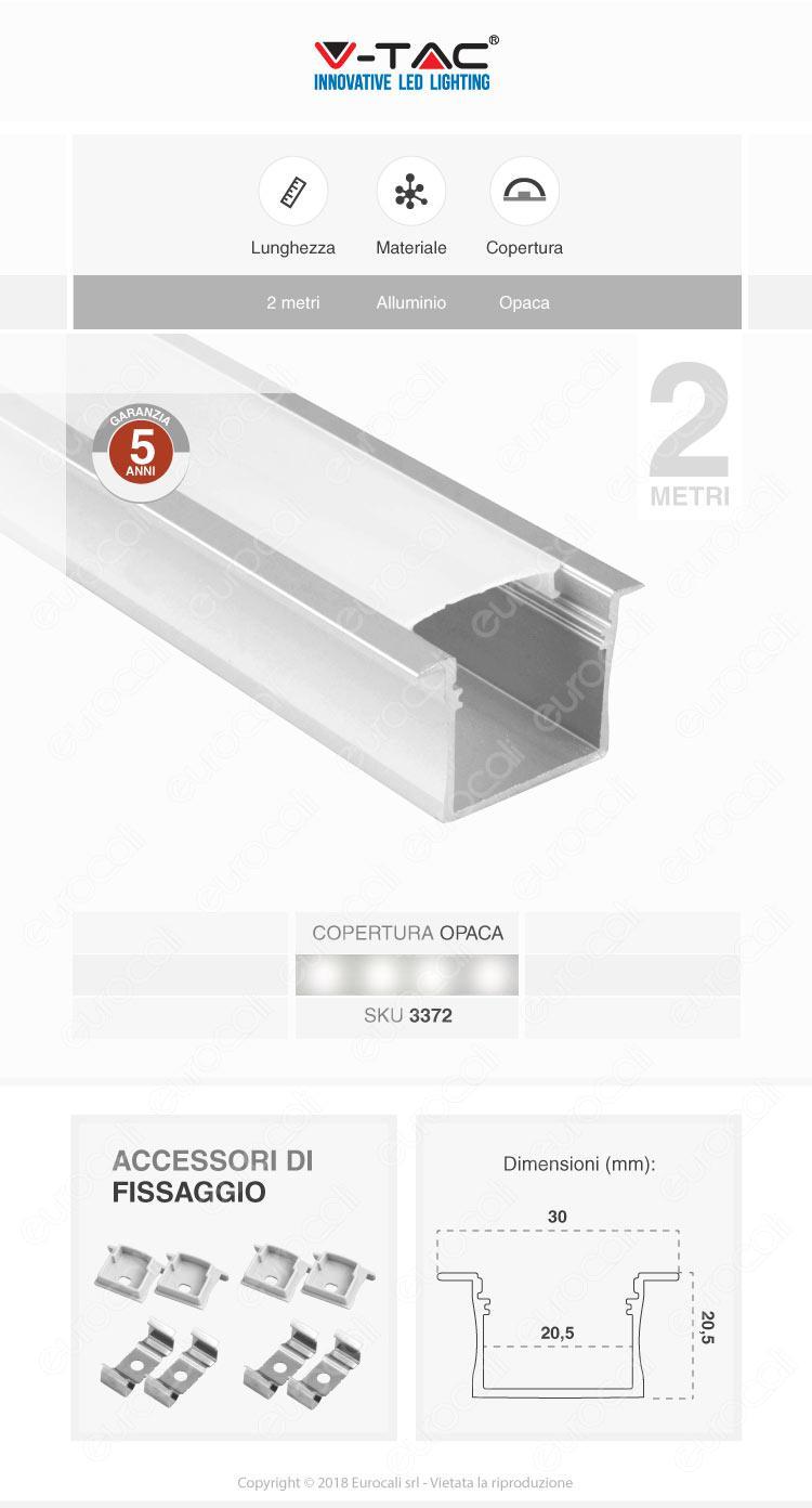 V-Tac VT-8119 Profilo in Alluminio per Strisce LED - Lunghezza 2 metri