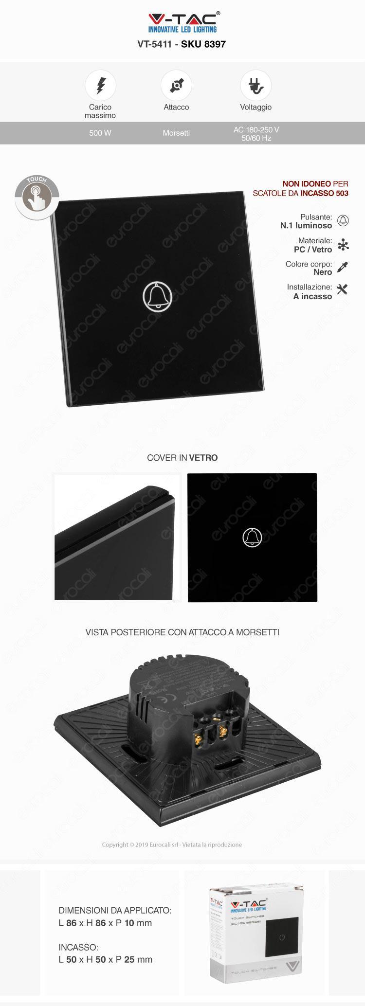 V-Tac VT-5411 Pulsante Touch Doorbell Colore Nero