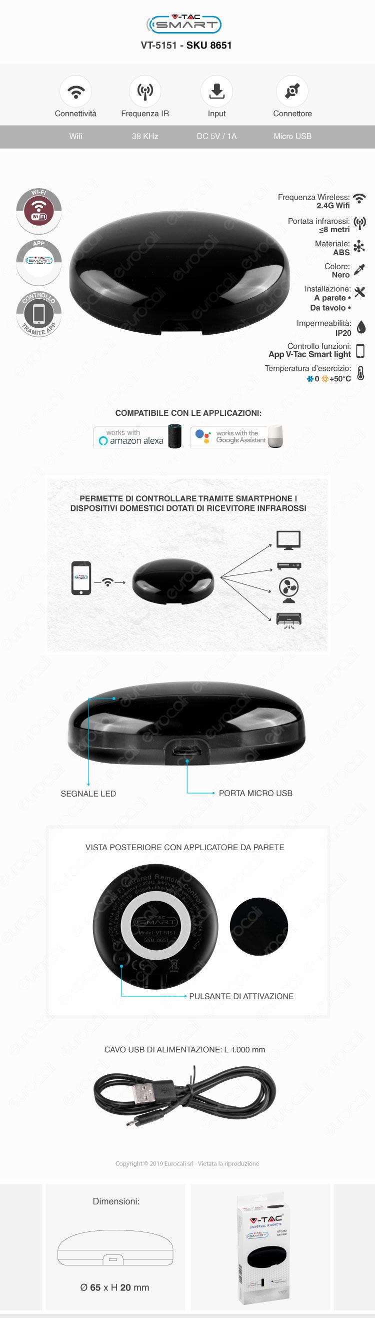 V-Tac Smart VT-5151 Universal IR Remote Compatibile con Amazon Alexa e Google Home