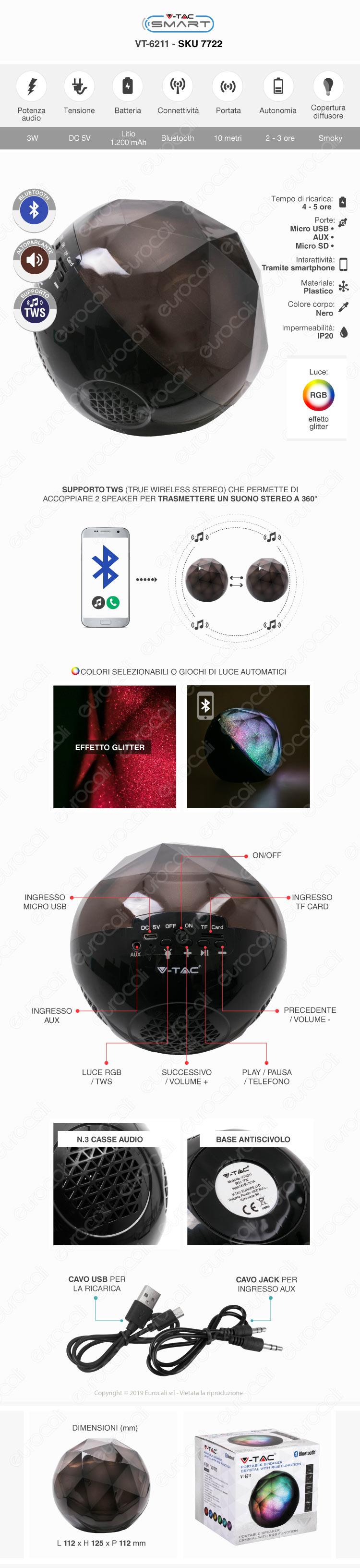 V-Tac VT-6244 Speaker Bluetooth Portatile 5W con Microfono Ingresso MicroSD e Radio FM