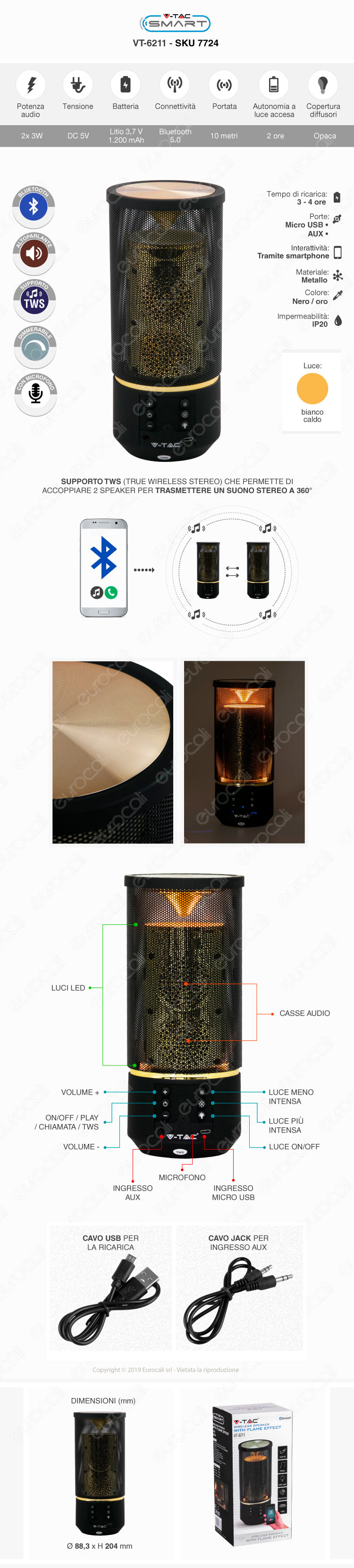 V-Tac VT-6211 Speaker Bluetooth Portatile 3W con LED RGB e Microfono Ingresso MicroSD AUX