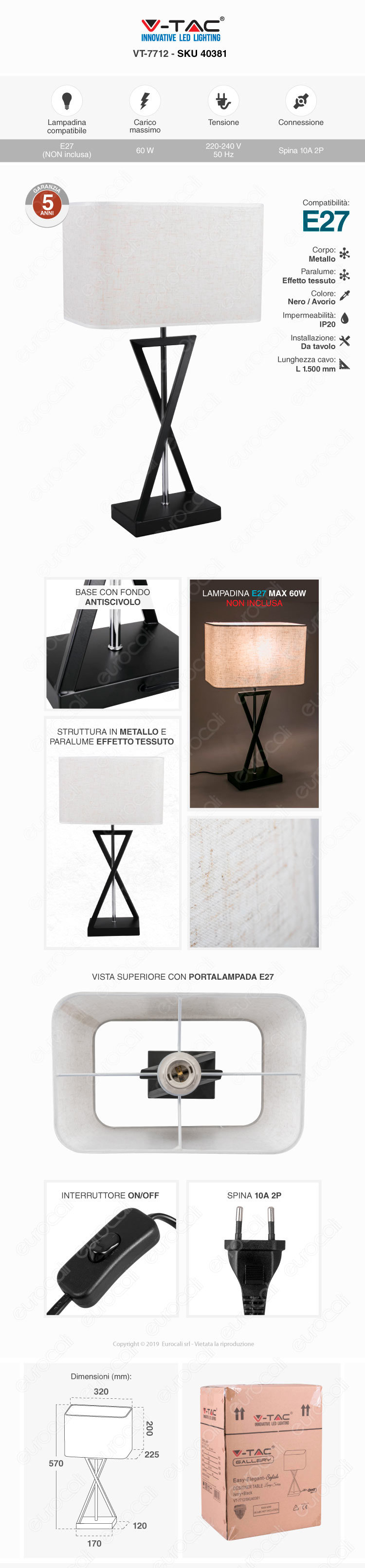 V-TAC Lampada da Tavolo con Portalampada per Lampadine E27