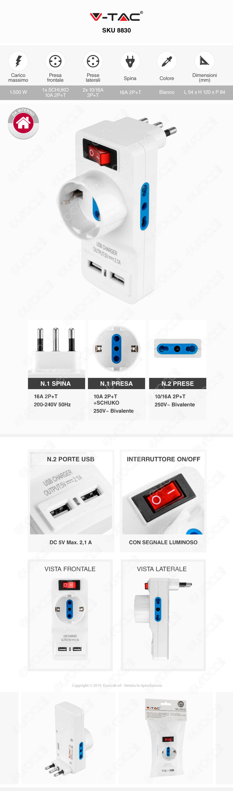 V-Tac Multipresa Adattatore Triplo Colore Bianco con Schuko 2 Porte USB e Interruttore Luminoso