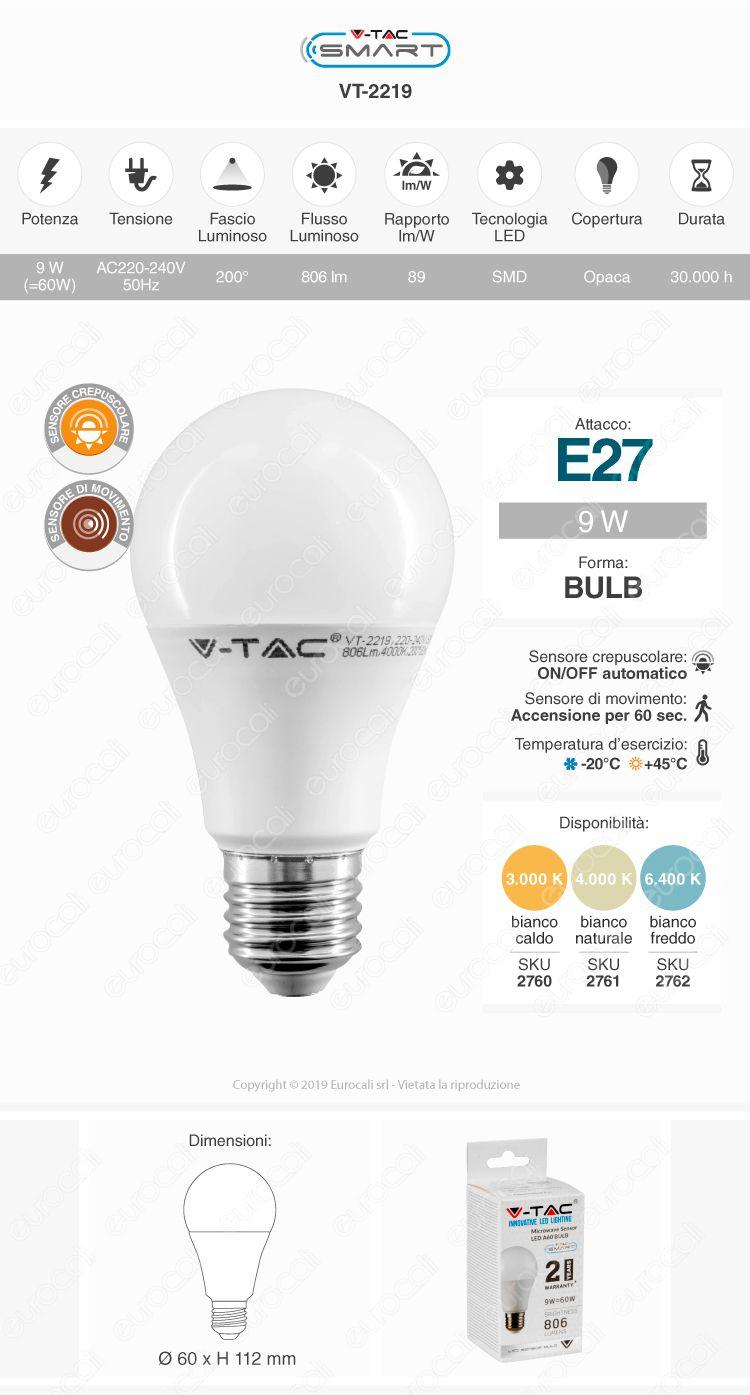 V-Tac Smart VT-2219 Lampadina LED E27 9W Bulb A60