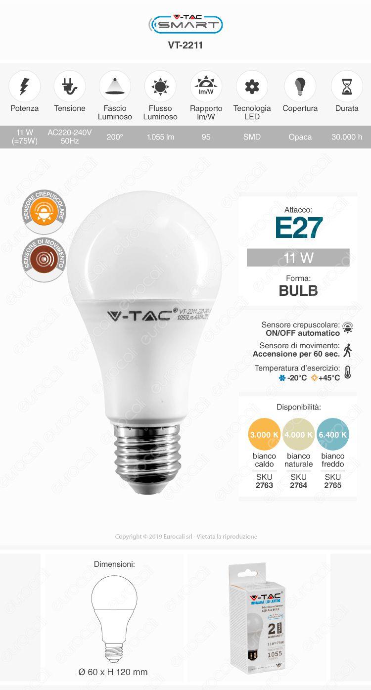 V-Tac Smart VT-2211 Lampadina LED E27 11W Bulb A60