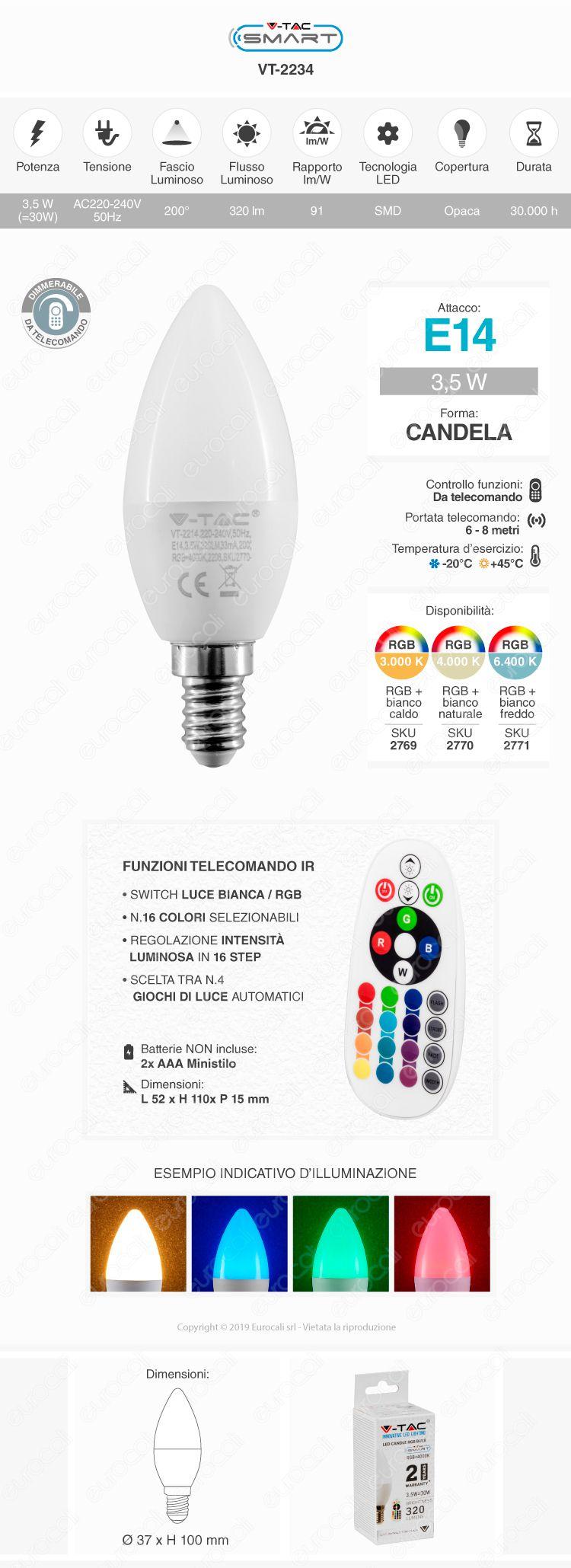V-TAC VT-2214 Lampadina E14 RGB+W