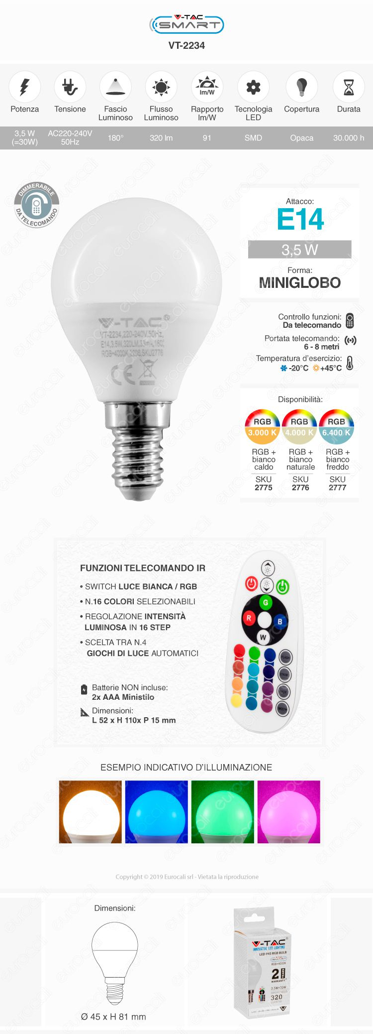 V-TAC VT-2234 Lampadina E14 RGB+W