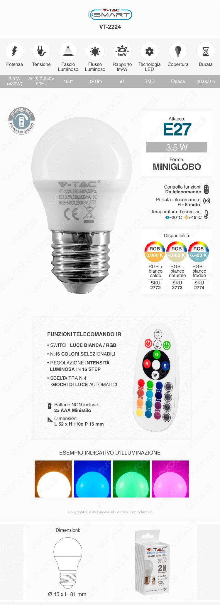 V-TAC VT-2224 Lampadina E27 RGB+W