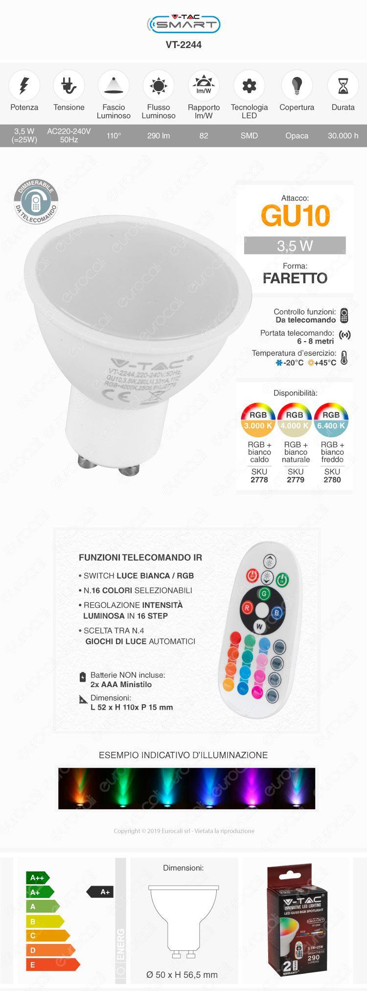 V-TAC VT-2244 Lampadina GU10 Faretto Spotlight RGB+W