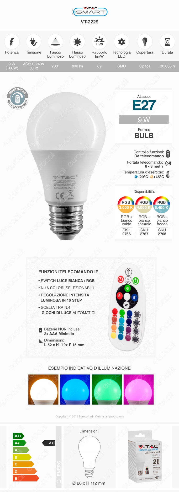 V-TAC VT-2229 Lampadina E27 RGB+W