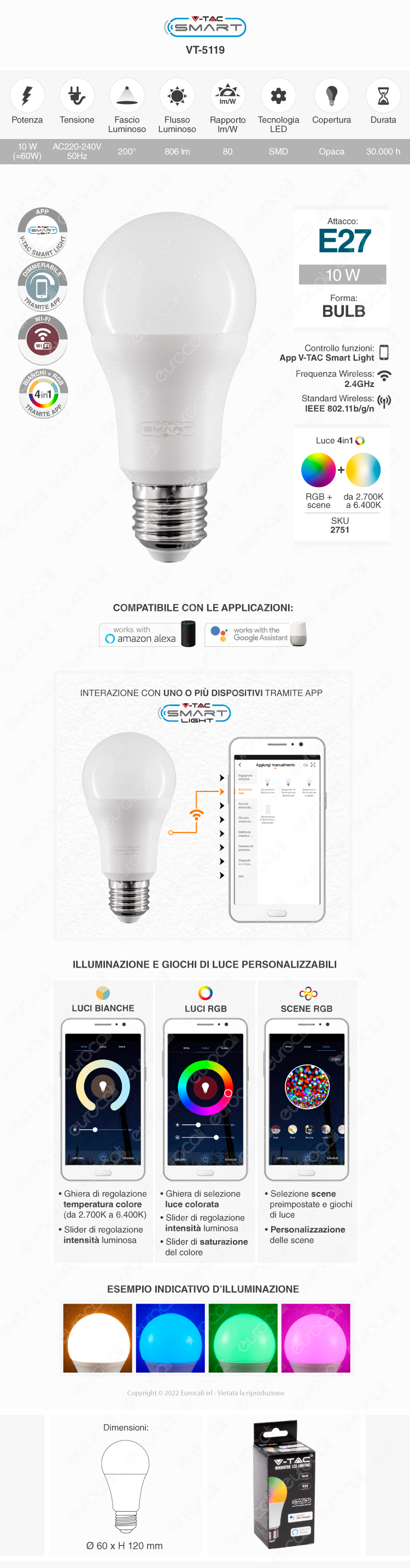 V-Tac Smart VT-5119 Lampadina LED Wi-Fi E27 10W Bulb A60 RGB+W Dimmerabile