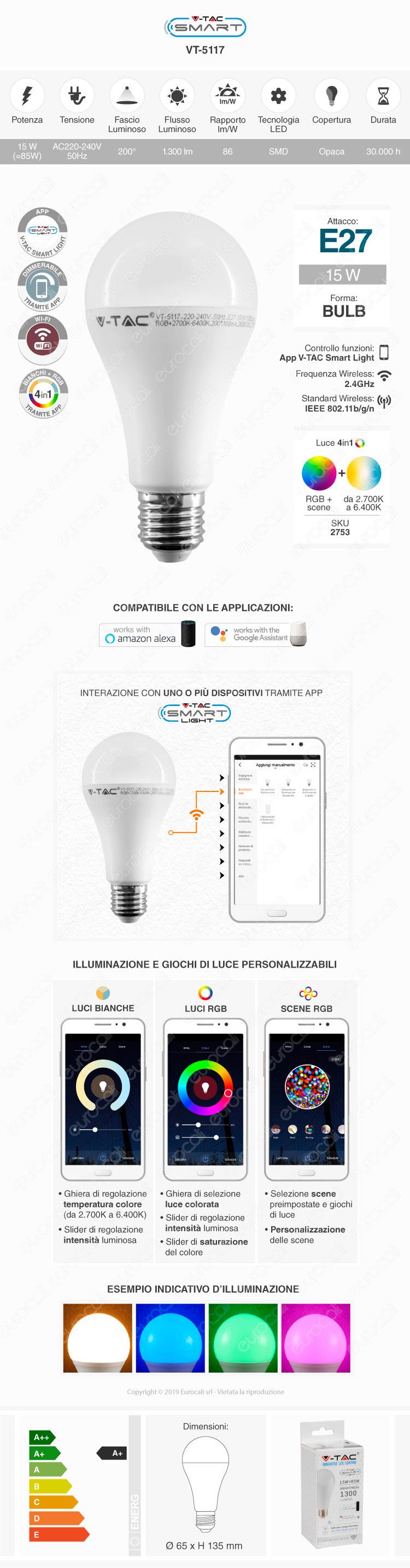 V-Tac Smart VT-5117 Lampadina LED Wi-Fi E27 15W Bulb A65 RGB+W Dimmerabile