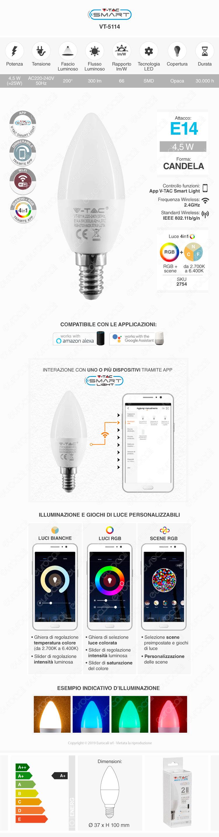 V-Tac Smart VT-5114 Lampadina LED Wi-Fi E14 4,5W Candela RGB+W Dimmerabile