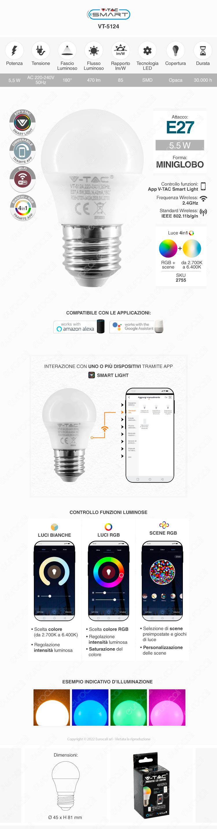 V-Tac Smart VT-5124 Lampadina LED Wi-Fi E27 4,5W MiniGlobo G45 RGB+W Dimmerabile