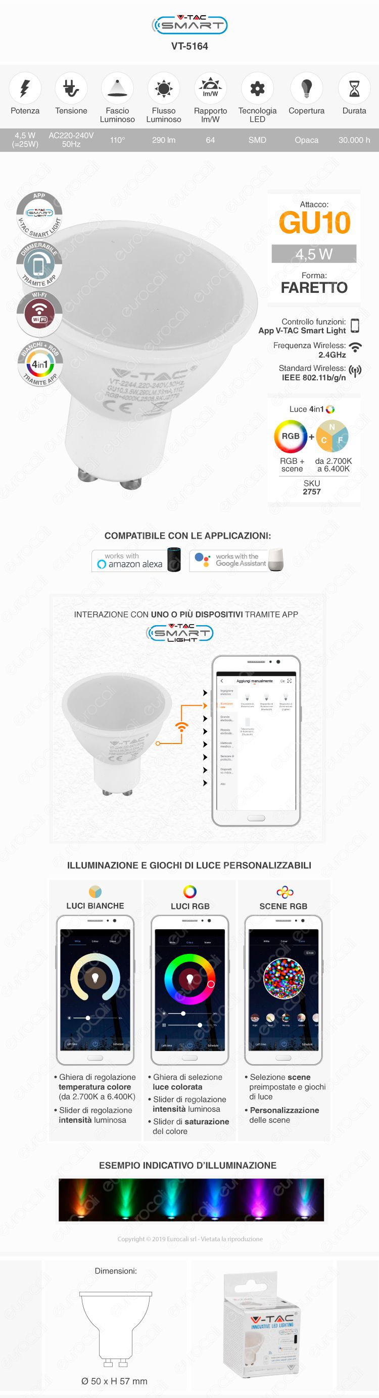 V-Tac Smart VT-5164 Lampadina LED Wi-Fi Faretto GU10 4,5W RGB+W Dimmerabile