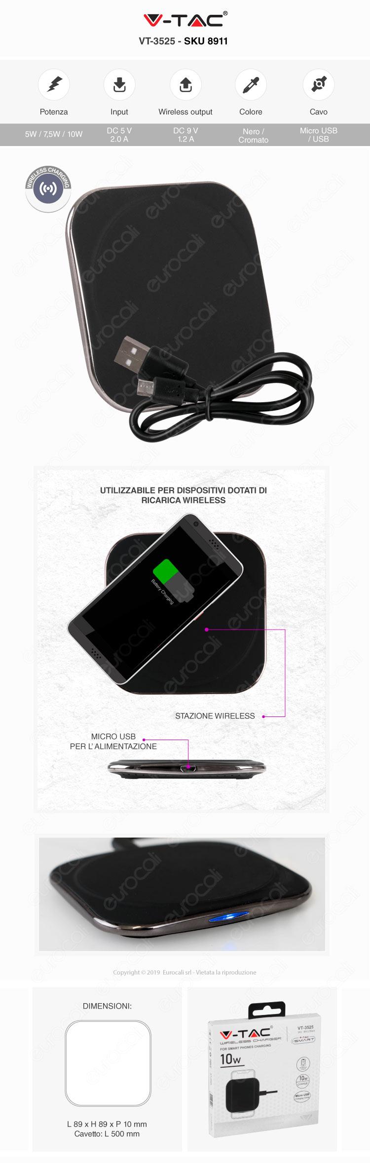 V-Tac VT-3525 Caricatore Wireless 10W