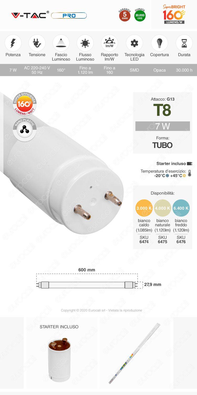 V-Tac VT-1607 Tubo LED SMD Nano Plastic T8 G13 7W Lampadina da 60cm