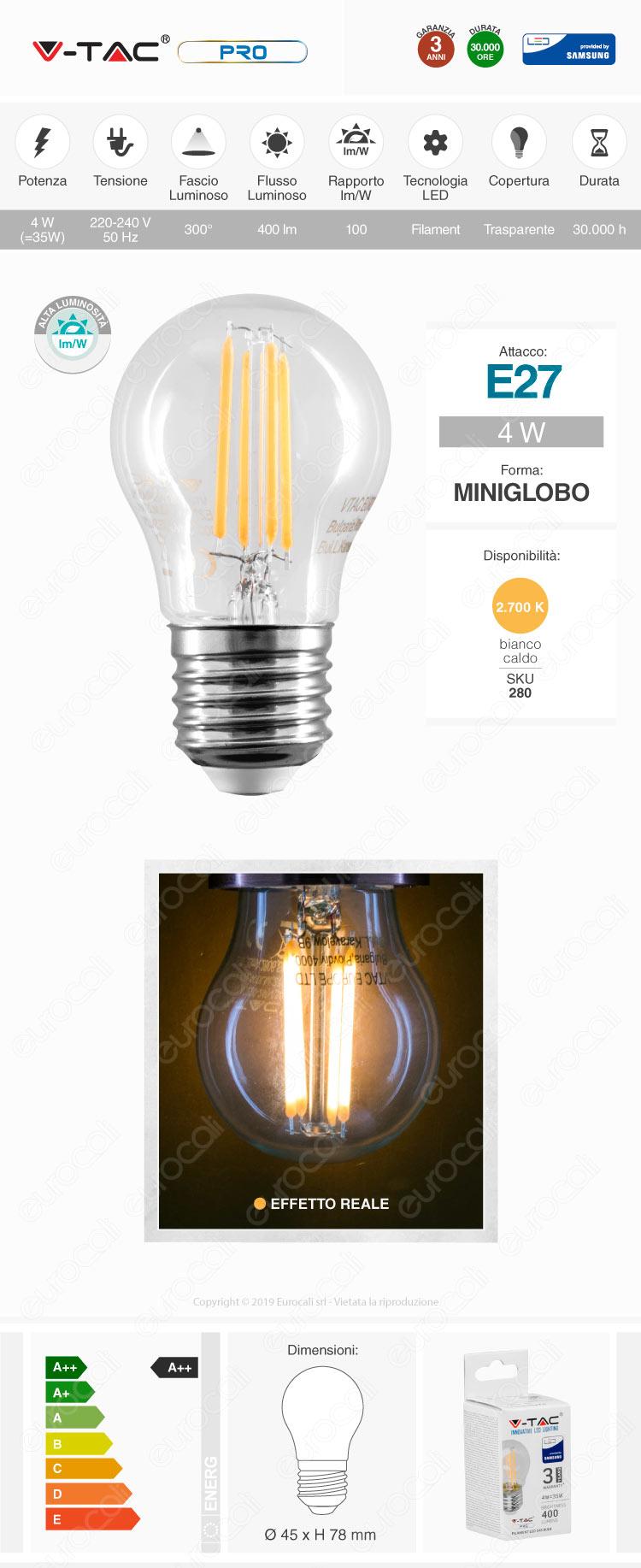 V-Tac VT-244 Lampadina LED E27 4W Filament MiniGlobo