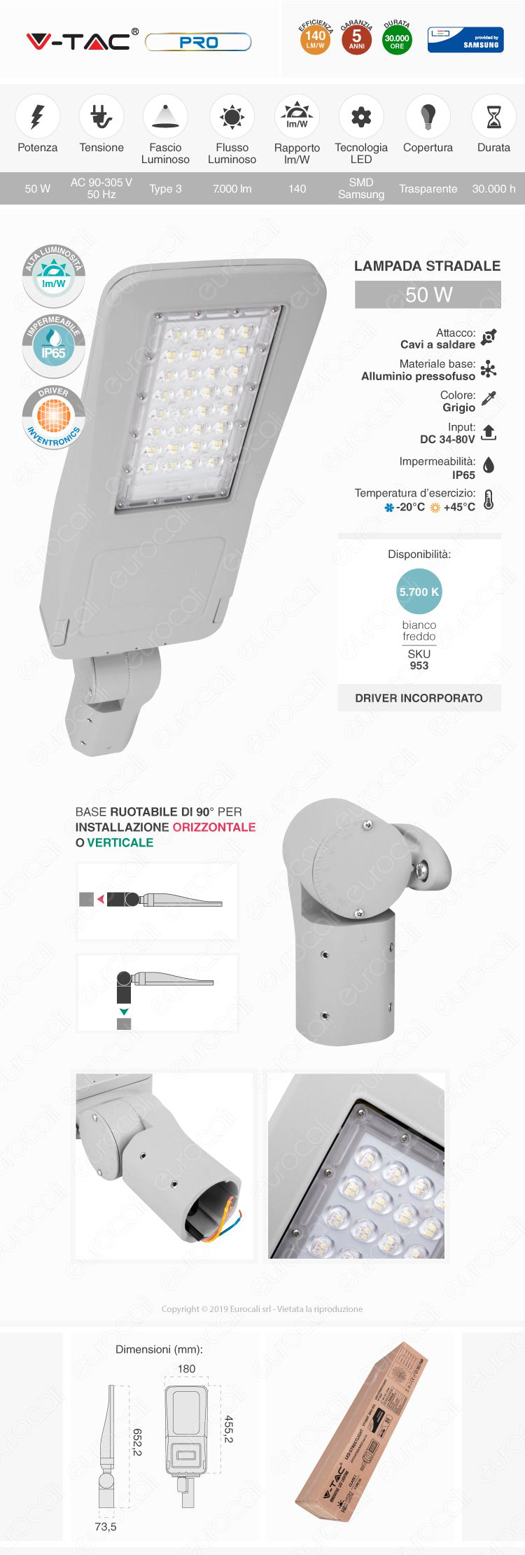 V-Tac PRO VT-53ST Lampada Stradale LED 50W Lampione SMD Chip Samsung Fascio Luminoso Type 3