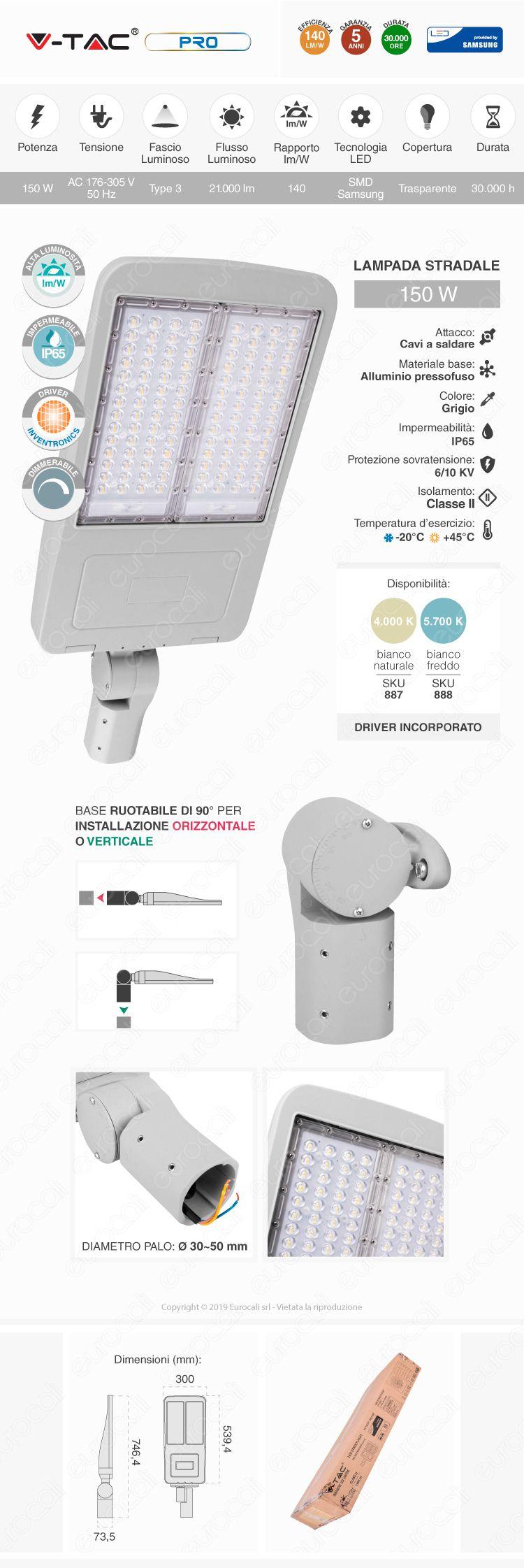 V-Tac SUPERPRO VT-200ST Lampada Stradale LED 200W Lampione SMD Chip Samsung Fascio Luminoso Type 3M