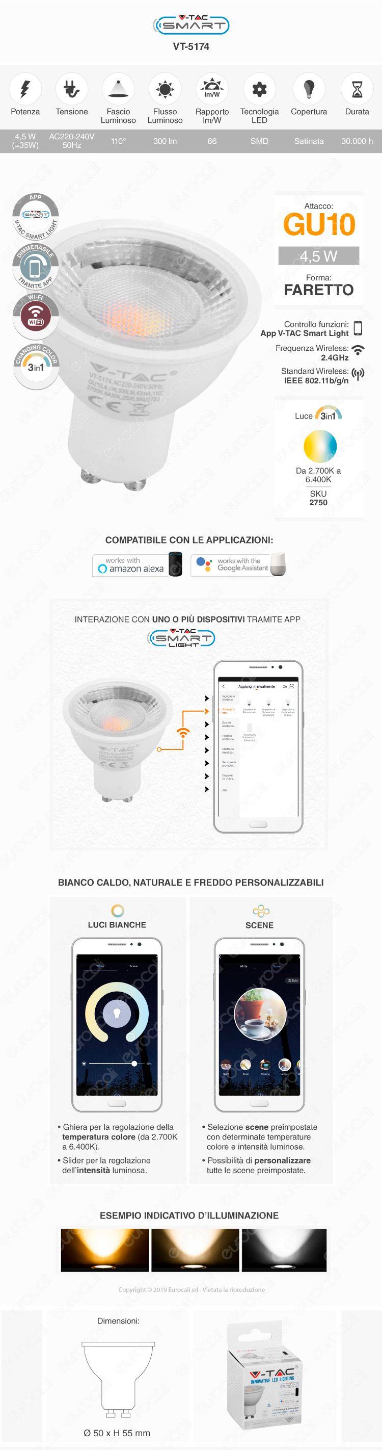 V-Tac Smart VT-5174 Lampadina LED Wi-Fi Faretto GU10 4,5W CCT Dimmerabile