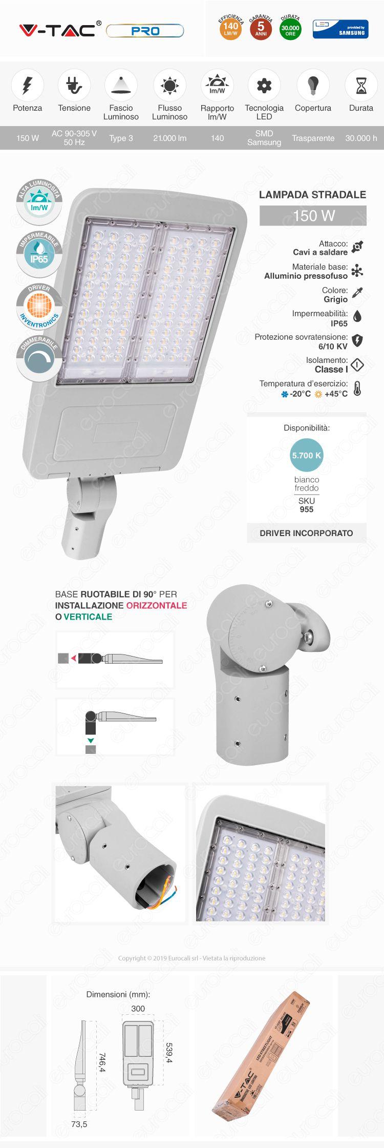 V-Tac PRO VT-153ST Lampada Stradale LED 150W Lampione SMD Chip Samsung Fascio Luminoso Type 3