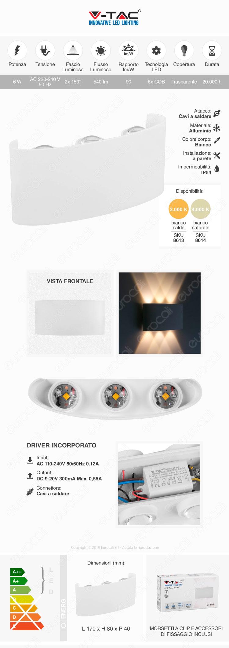 V-Tac VT-846 LED Wall Light 6W