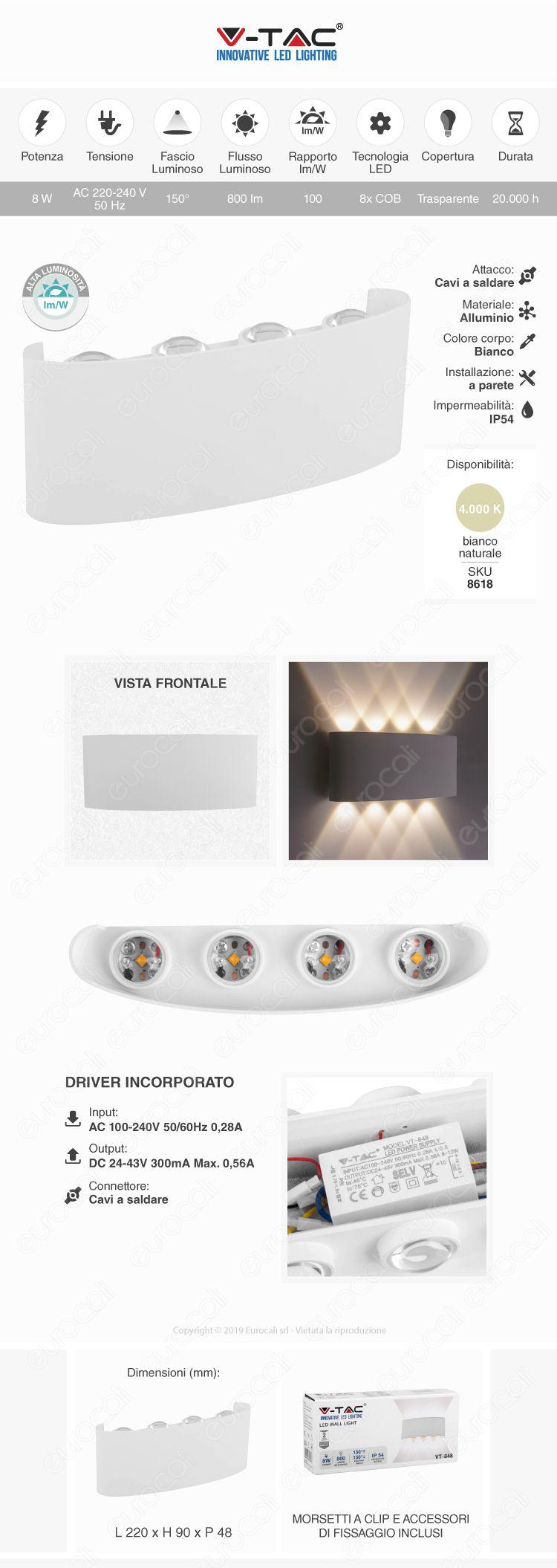 V-Tac VT-848 LED Wall Light 8W