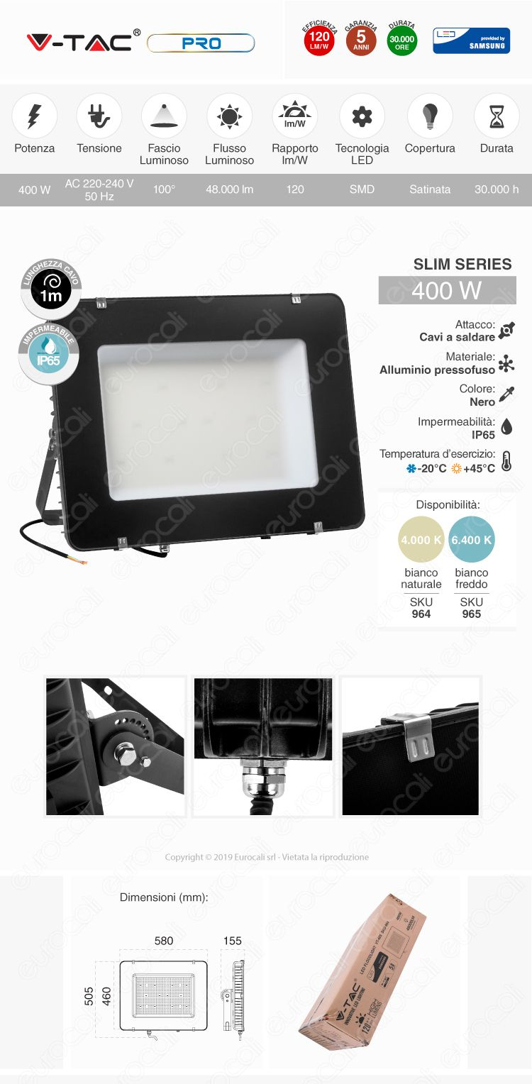 V-Tac PRO VT-405 Faro LED SMD 400W