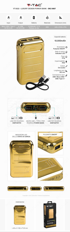 V-Tac VT-3522 Power Bank Portatile 10000 mAh 2 Uscite USB 2.0A