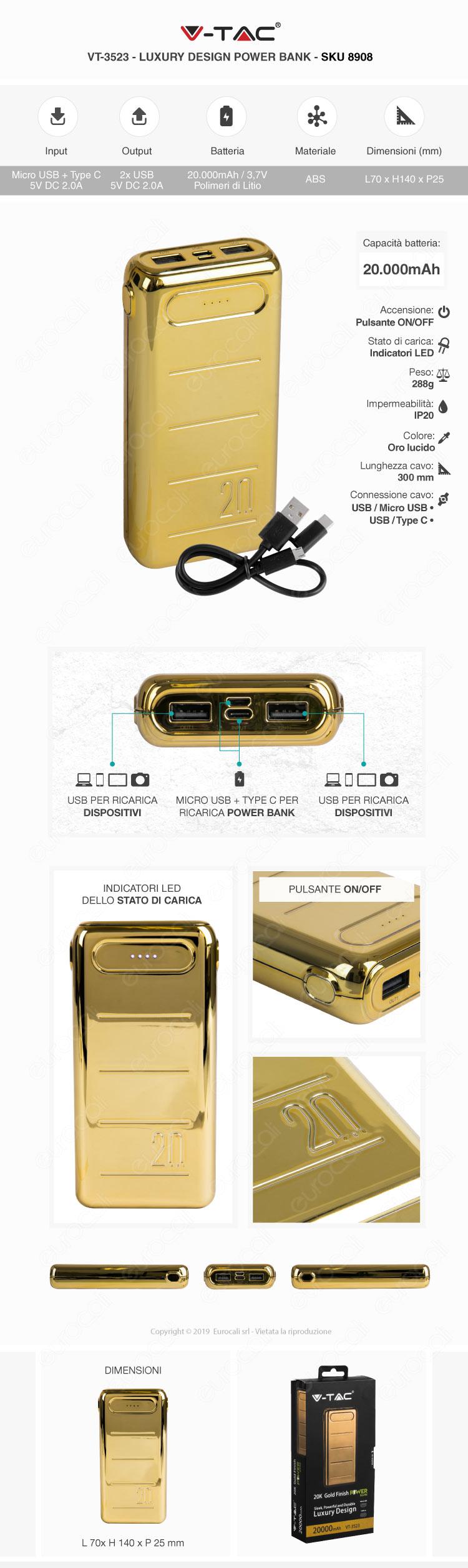 V-Tac VT-3523 Power Bank Portatile 20000 mAh 2 Uscite USB 2.0A