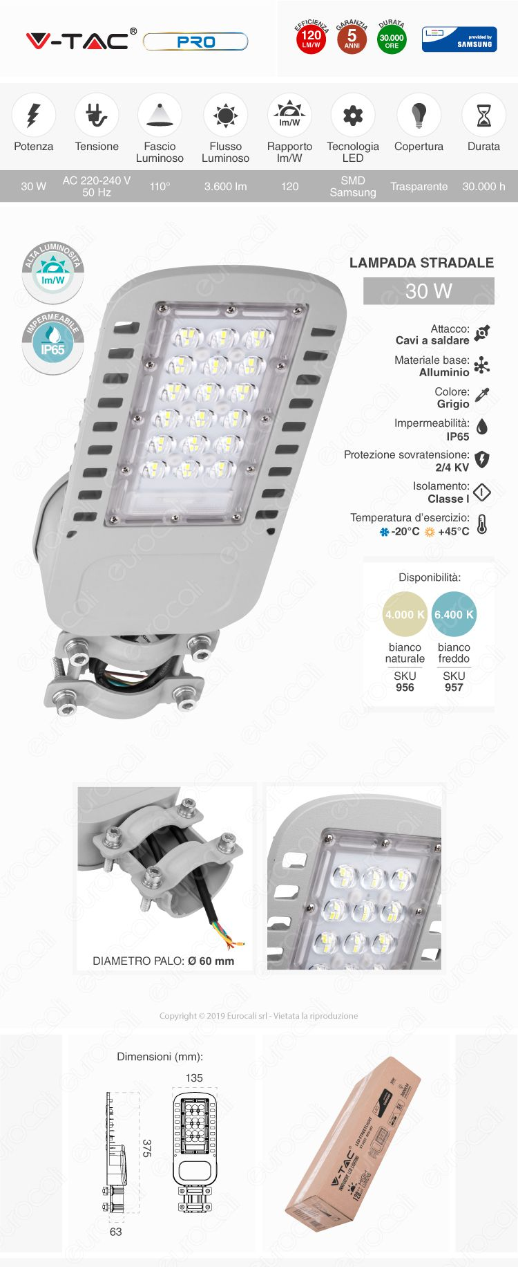 V-Tac PRO VT-34ST Lampada Stradale LED 30W Lampione SMD Chip Samsung