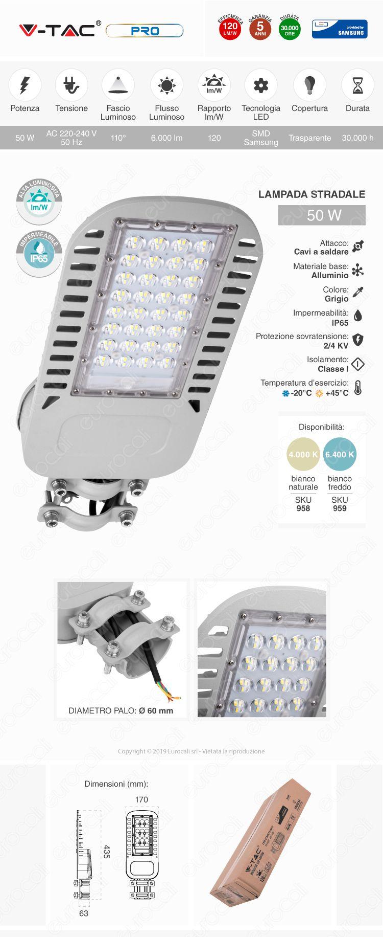 V-Tac PRO VT-54ST Lampada Stradale LED 50W Lampione SMD Chip Samsung