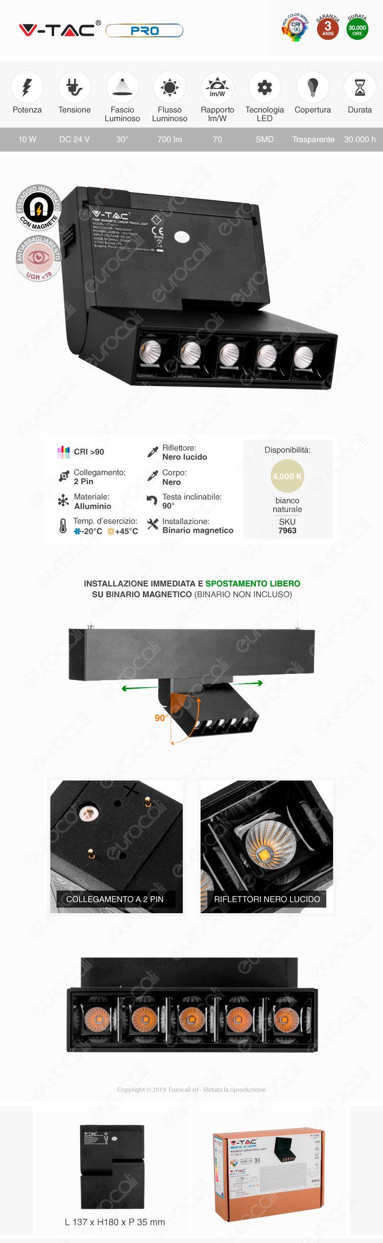 V-Tac PRO VT-4210 Magnetic Linear Spotlight