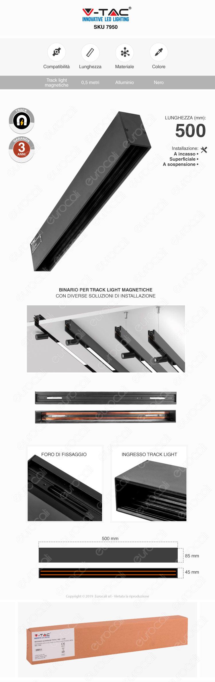 V-Tac Recessed Aluminium Track Line 0,5m