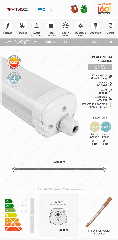 V-Tac VT-1524 Tubo LED Plafoniera X-Series 24W Lampadina 120cm Impermeabile