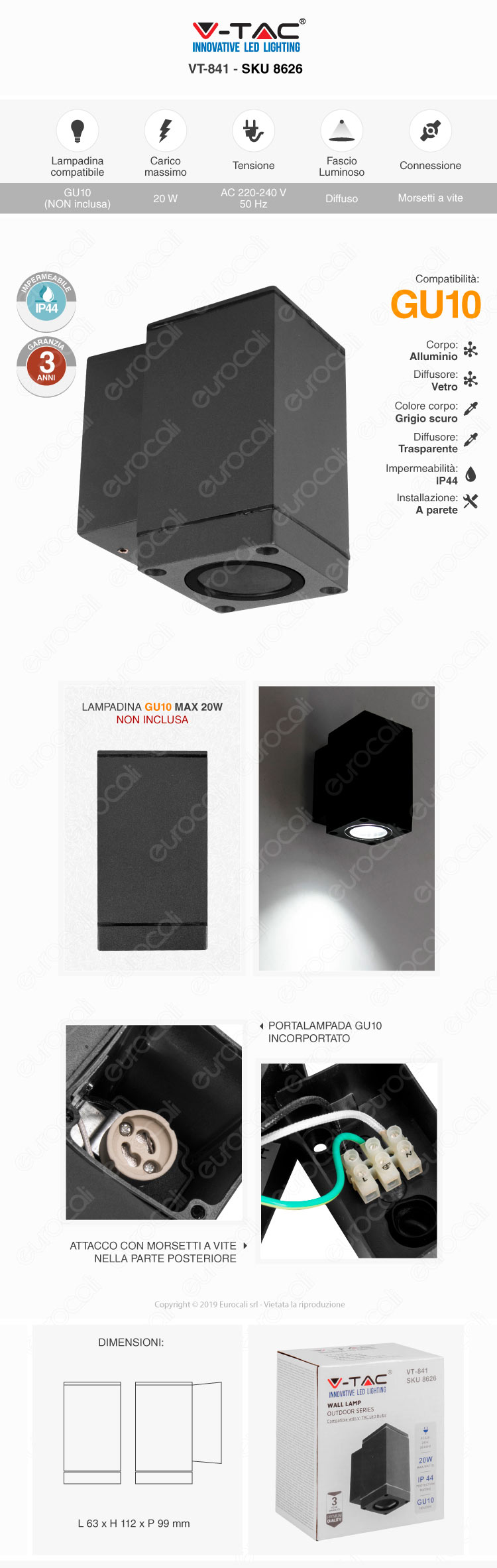 V-Tac VT-841 Wall Lamp
