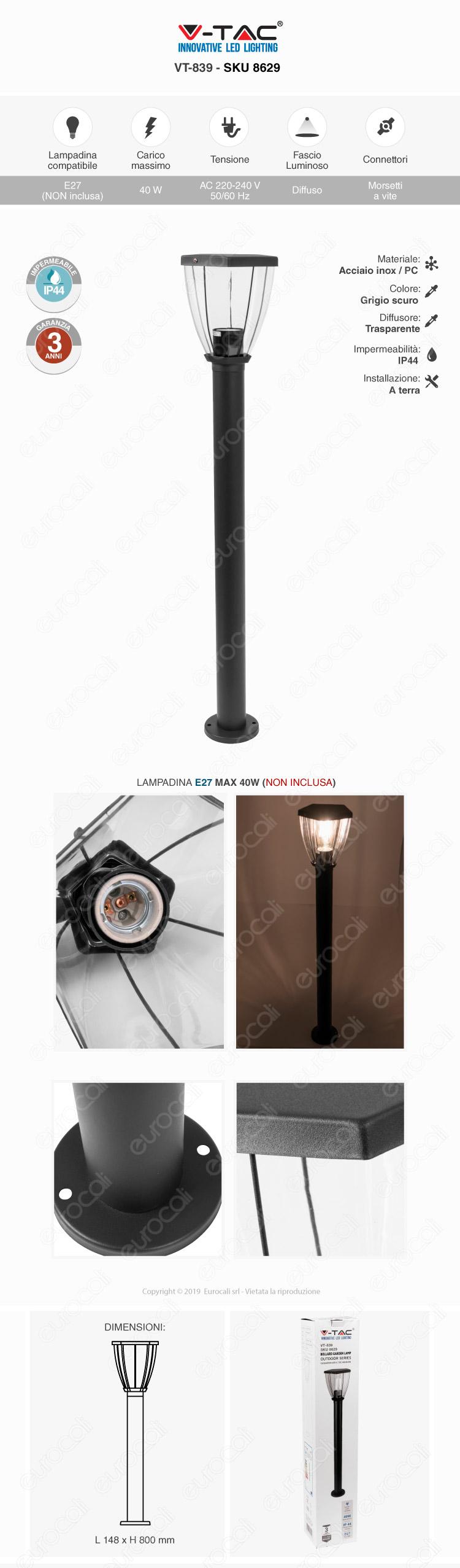 V-Tac VT-839 Lampada da giardino