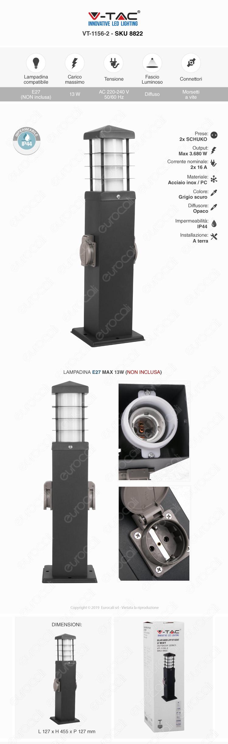 V-Tac Bollard Garden Lamp