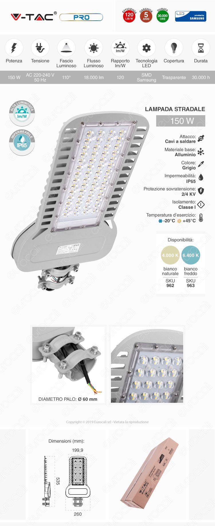 V-Tac PRO VT-154ST Lampada Stradale LED 150W Lampione SMD Chip Samsung