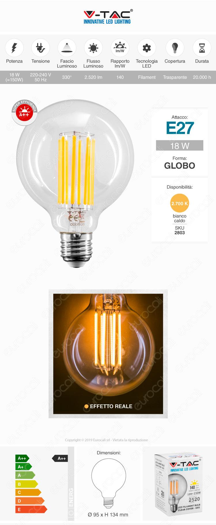 V-Tac VT-2338 Lampadina LED E27 G95
