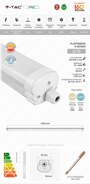 V-Tac VT-1532 Tubo LED Plafoniera X-Series 32W Lampadina 150cm Impermeabile